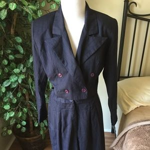 Vintage Alyn Paige Blue Pin-Striped Womens Suit